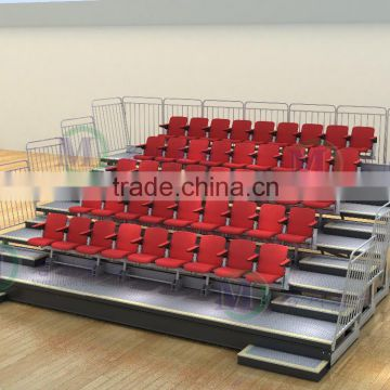 Fabric sport seat lecture hall chair wood tribune seating system retractable indoor bleachers