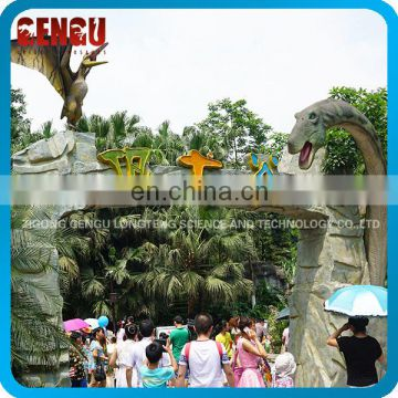 Theme Park Fiberglass Dinosaur Gate For Sale