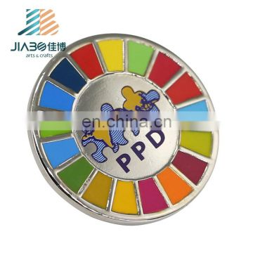 Round shape logos China manufacturer hard enamel with printing lapel pins badge emblem