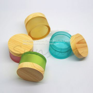 PET Plastic Jar with Wooden Color Screw Lid 50ml
