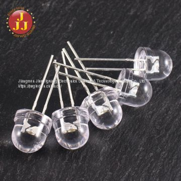 8mm pure white straw hat LED short legs  through hole/dip led