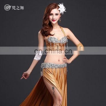 High-grade 5pcs hot stamping ice silk bellydance costume with handmade bell