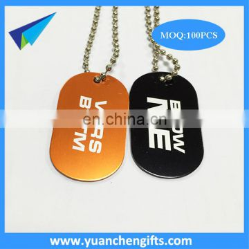 Anodized cheap blank aluminum dog tags with silicone and keychains