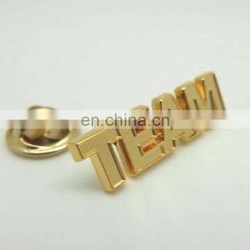 Customer Metal Alphabet 2D 3D GOLD lapel pins with butterfly clutch