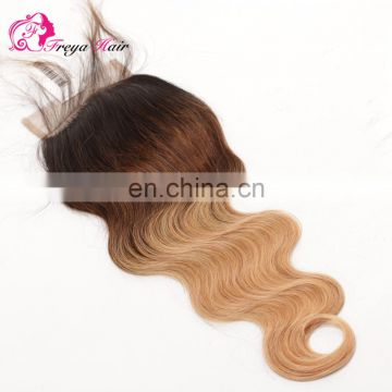 Brazilian remy virgin hair ombre hair extension lace closure