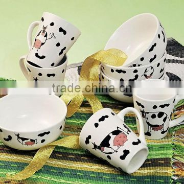 Lovely Dairy Porcelain Bowl and Mug with Decal Printing
