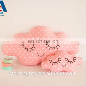 pink embroidery fabric cloud doll plush pillow