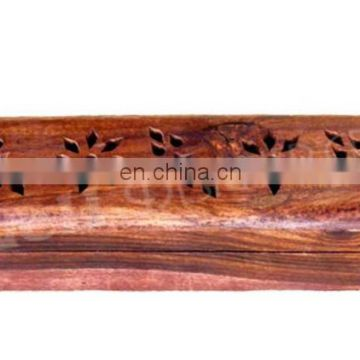 WOODEN COFFIN INCENSE STICK/CONE BURNER HOLDER WITH STORAGE COMPARTMENT