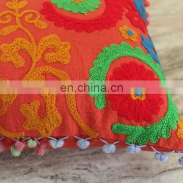 Pom Pom Vintage Suzani Cushion Cover Embroidered 16x16'' Indian Pillow Case Cu22