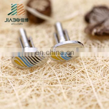 Jiabo unique deign high quality custom metal cufflinks tie clip set for man