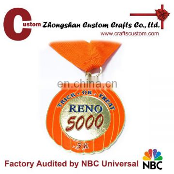 Promotional gifts expert factory custom pumpkin shape RENO halloween running medal
