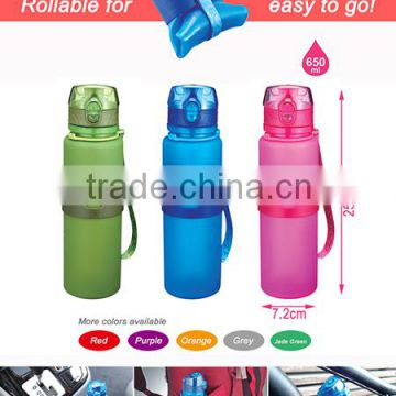 2016 New products foldable silicone water bottle