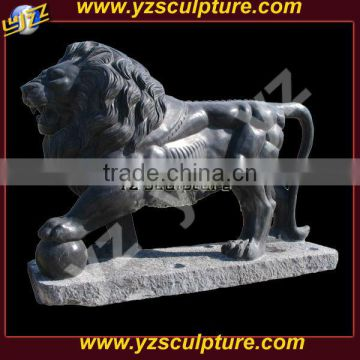 garden decoration life size black marble lion sculpture
