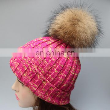 Wholesale women mens knitted plain beanie hat with raccoon fur pom pom