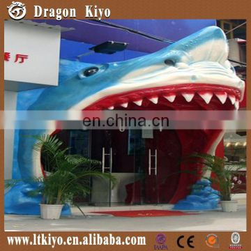 2015 high quality fiberglass animatronic shark head for sale