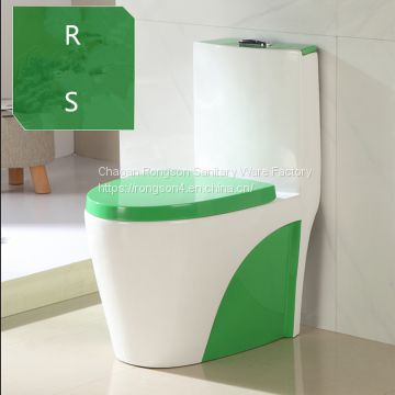 Green color ceramic hotel bathroom one piece siphonic good sale top dual flushingtoilet bowl