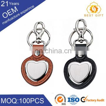 Factory Price round leather keychain Metal Keychain