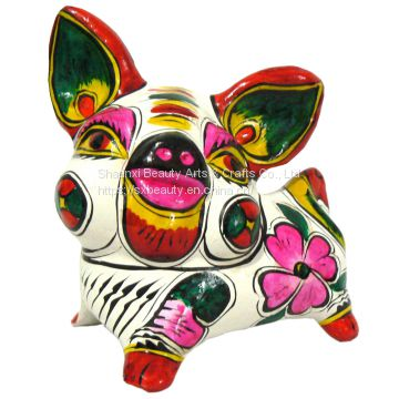 clay sculpture Chinese Zodiac business gift  painted pig birthday gift handcrafts