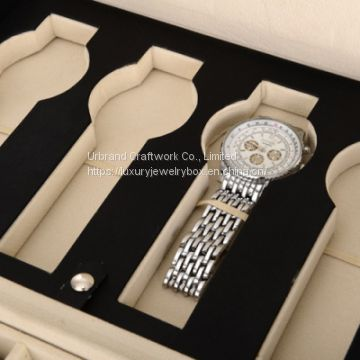 Black PU watch storage case for 12 watches with custom embossed logo