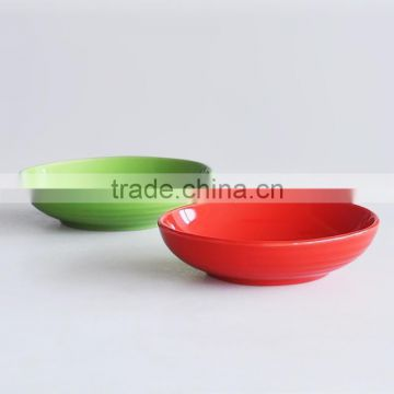 "8"" ceramic soup plate with solid color"