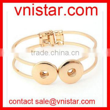 Vnistar gold snap button jewelry bangle bracelet fit 18mm snap button charm wholesale NBR003-2