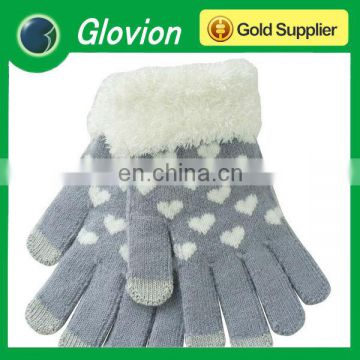 Heart knitted Capacitive Touch Screen Gloves heart pattern printed knitted gloves For iPad iPhone