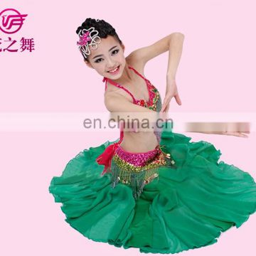 ET-121 American Latest design High-class beaded tassel 2pcs/3pcs children belly dance costume with size S M L for sale