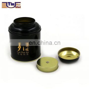 Black Chinese Round Tea Tin Box with An Inner Seperated Lid