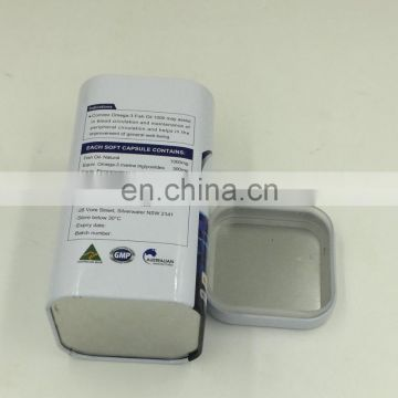 Square tin box with plastic interior lid,lid with plastic interior square tin box