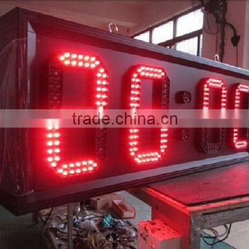 Red Waterproof 12 Inch LED Time and Temp Display