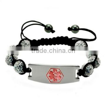 SRB0141 Adjustable Rope with Flexible Pottery Beads Stainless Steel Jewelry Medical Alert Bracelet