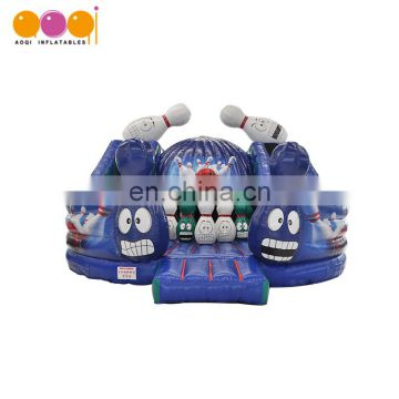 2017 AOQI new design cheap inflatable crazy bowling fun city bouncers house with high quality