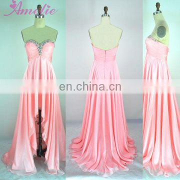 Sweetheart neckline peach chiffon prom dress for fat women