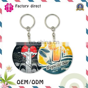 printing custom logo promotional stainless steel sublimation reflective keychain