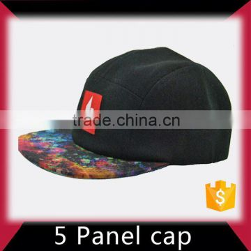 Small moq free samples 5 panel hat with leather logo