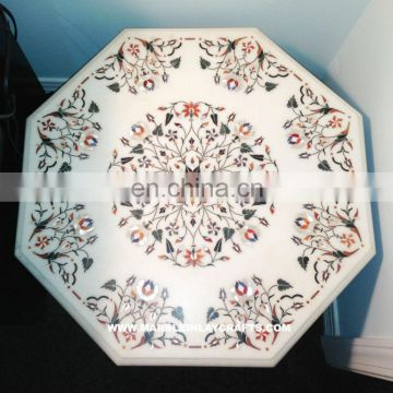White Marble Inlaid Coffee Table Tops Exporter