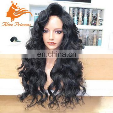 cheap body wave big braid brazilian human hair full lace hair wig with baby hair