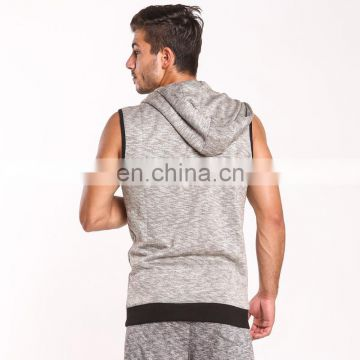 Bodybuilding Hooded Tank Top Cotton Men's Sleeveless Zipper Solid Compression Waistcoat Gym Active Wear T Shirt Casual Hoodies