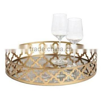 new design fancy glass & metal tray