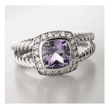 Sterling Silver 7mm Square Lavender Amethyst Petite Ring