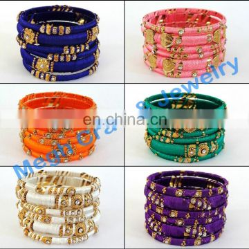 DESIGNER THREAD BANGLES-INDIAN ETHNIC HANDMADE THREAD BANGLE-EXCLUSIVE DESIGN INDIAN TRADITIONAL THREAD BANGLE