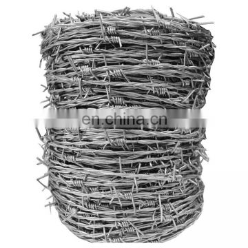 China supplier Galvanized iron barbed wire 12 14 16 18 gauge electro galvanized barbed wire
