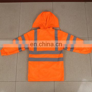 security raincoat with high visibility reflective tape