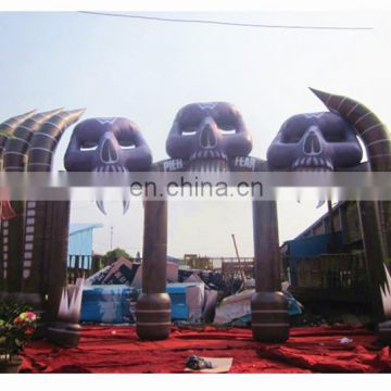 Giant Halloween decorative archway,inflatable skull arch