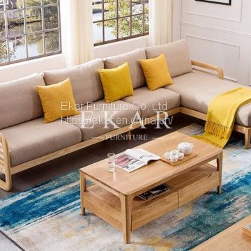 New Model Ash Solid Wood Wooden And Fabric Combinations For Sofa Set