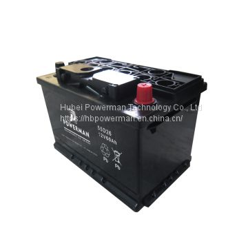 Powerman 12V 60Ah Lead Acid Portable maintenance free car battery for starting from chinese suppliers or manufacturers