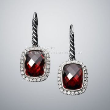 DY Sterling Silver 8x10mm Noblesse Garnet Earrings