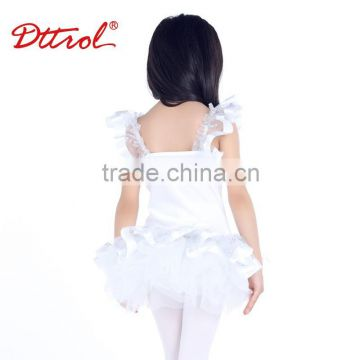 D008007 2 in 1 children girls white flashy removable professional ballet tutu skirts cometition kids costumes