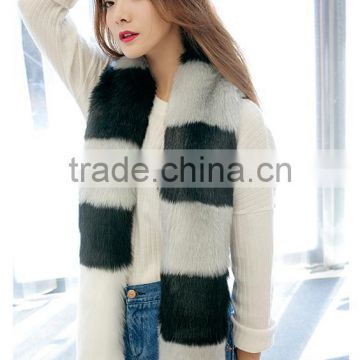 Contrast color Faux Fox Fur Long Scarf 2015 Gray & Pink Patchwork Hairy Shaggy Scarves Long tail Shawl Big Faux fur Collar