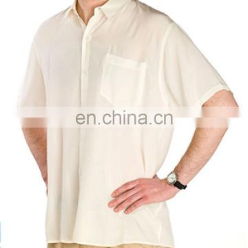 Men's 100% silk crepe casual shirt